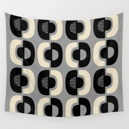 Retro Mid Century Modern Pattern 115 Black Gray and Beige Wall Tapestry