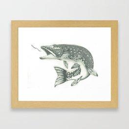 Fish & Hook Framed Art Print