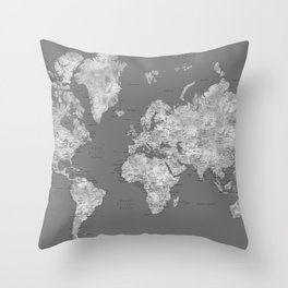 Dark gray watercolor world map with cities Throw Pillow