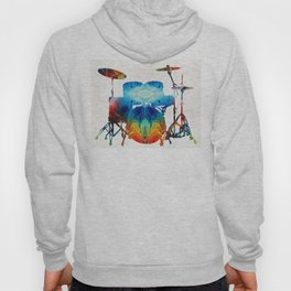 Drum Set Art - Color Fusion Drums - By Sharon Cummings Hoody