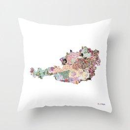 Austria map Throw Pillow