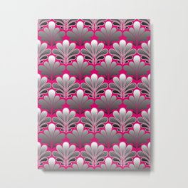 Art Deco Shell Pattern, Silver Gray and Fuchsia Pink Metal Print