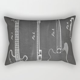 Bass Guitar Patent - Bass Guitarist Art - Black Chalkboard Rectangular Pillow