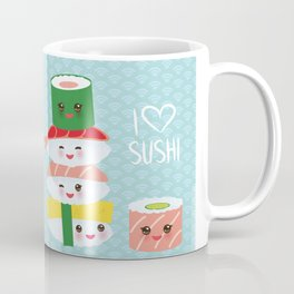 I love sushi. Kawaii funny sushi set with pink cheeks and big eyes, emoji. Blue japanese pattern Coffee Mug