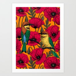 Bee eaters and poppies on orange Art Print