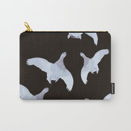 White Willow grouse Birds On A Black Background #decor #buyart #society6 Carry-All Pouch