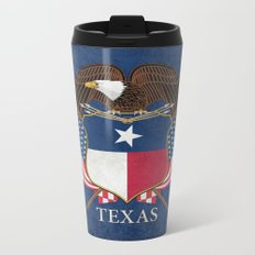 Texas flag and eagle crest - original vintage design by BruceStanfieldArtist Metal Travel Mug