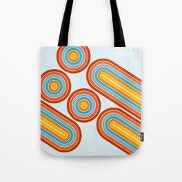 Retro Motion 2 – Orange / Yellow / Blue Abstract Stripe Pattern Tote Bag