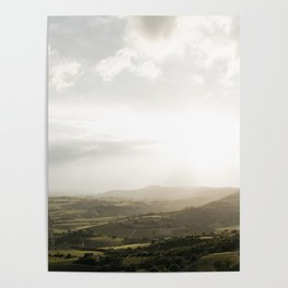 Travel photography | Tuscany | Mountain view | Golden Hour | Colorful Poster