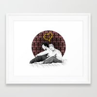 johnlock Framed Art Prints featuring Johnlock - Snuggling Thoughts by Clarice82