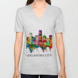 Oklahoma City Oklahoma Skyline Unisex V-Neck