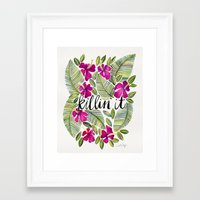 tropical Framed Art Prints featuring Killin' It – Tropical Pink by Cat Coquillette