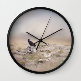 Black Vulture perches on Elephant Skeleton Wall Clock