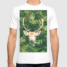 Deer Behind Leaves LARGE White Mens Fitted Tee