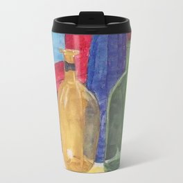 glass bottle still life Metal Travel Mug