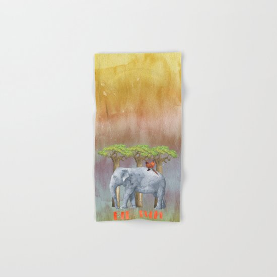 ELE FUN - Elephant Africa Watercolor Illustration Hand & Bath Towel