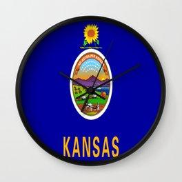 flag Kansas-america,usa,middlewest,Sunflower State, Kansan,Topeka,Wichita,Overland Park,Wheat State Wall Clock