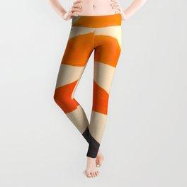 Vintage Scandinavian Orange Geometric Triangle Pattern Leggings