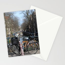 Bike Parked on Canals of Amsterdam Stationery Cards