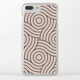 Circle Swirl Pattern VA Rosy Mauve Pink - Blushing Bride Pink - Cathedral Morning Pink Clear iPhone Case