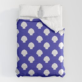 Seashells (White & Navy Blue Pattern) Comforters