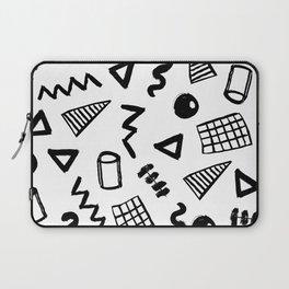 Black and white shapes minimal linocut pattern graphic scandi design Laptop Sleeve