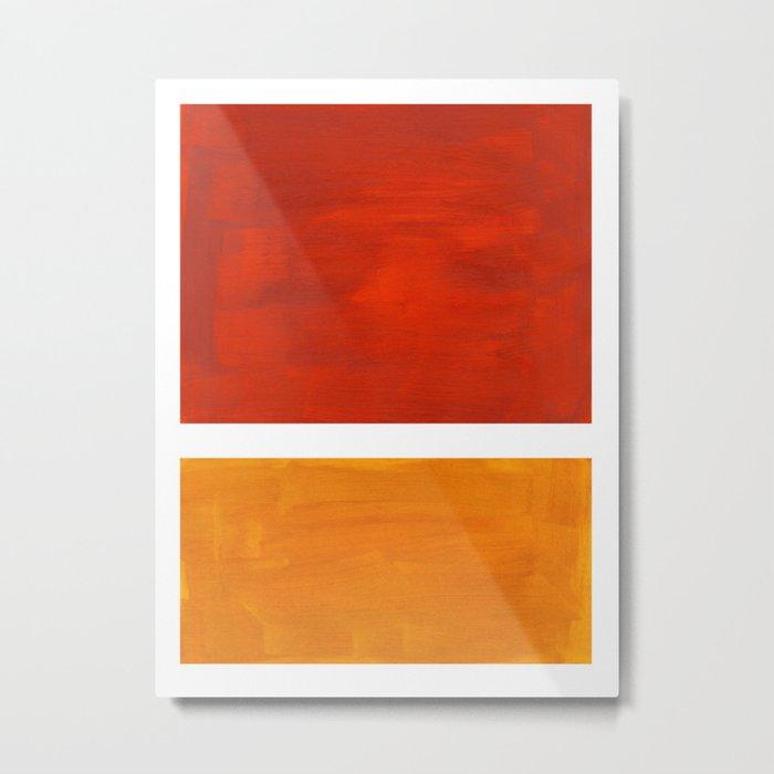 Burnt Orange Yellow Ochre Mid Century Modern Abstract Minimalist Rothko Color Field Squares Metal Print