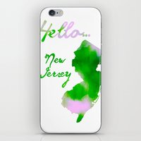 new jersey iPhone & iPod Skins featuring Watercolor New Jersey Art - Hello... New Jersey by Jess