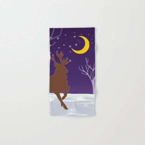 Deer on the ice Hand & Bath Towel