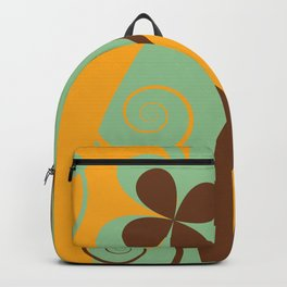 Modern Retro Floral Graphic Art Backpack