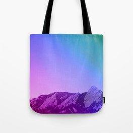 Boulder Colorado Flatirons Decor \\ Chautauqua Park Purple Pink Blue Green Nature Bohemian Style Art Tote Bag