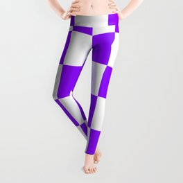 Large Checkered - White and Violet Leggings