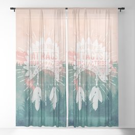 Your Vibe Attracts Your Tribe - Pink Teal Forest Sheer Curtain