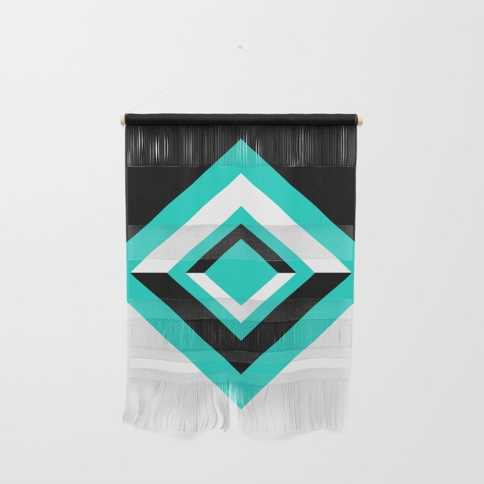 Teal Black and White Diamond Shapes Digital Illustration - Artwork Wall Hanging