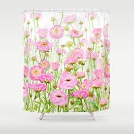 pink buttercup ranunculus field watercolor Shower Curtain