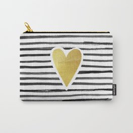 Gold Heart And Black ink abstract horizontal stripes background.  Carry-All Pouch