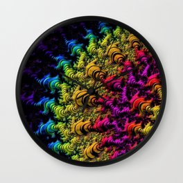 Fractal Sun Rays in Colors Wall Clock