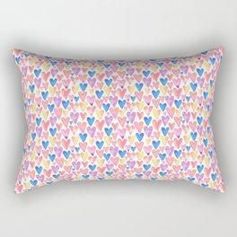 Watercolor Hearts Rectangular Pillow