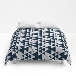 Southwestern Triangle Design over White Grey Marble Comforters