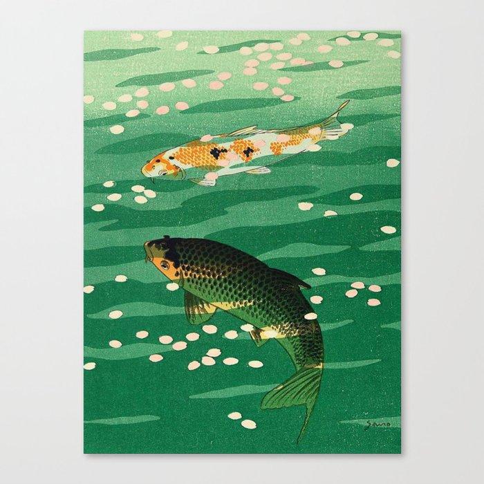 Vintage Japanese Woodblock Print Asian Art Koi Pond Fish Turquoise Green Water Cherry Blossom Leinwanddruck