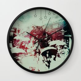 Scorched City Under False Stars Wall Clock