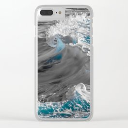 Black and White to Color Wave Clear iPhone Case