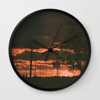 detroit Wall Clocks featuring Detroit by Amber Hewitt