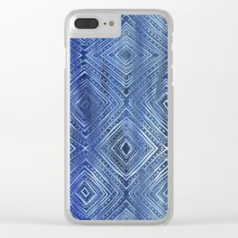 Drawn Diamond Denim Clear iPhone Case