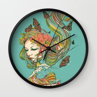 geisha Wall Clocks featuring Geisha by Huebucket