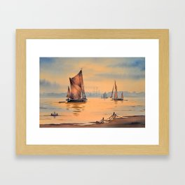 Barges On The River Thames Greenwich London Framed Art Print