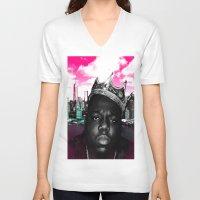 big poppa V-neck T-shirts featuring Big Poppa Still King by TallRob Design