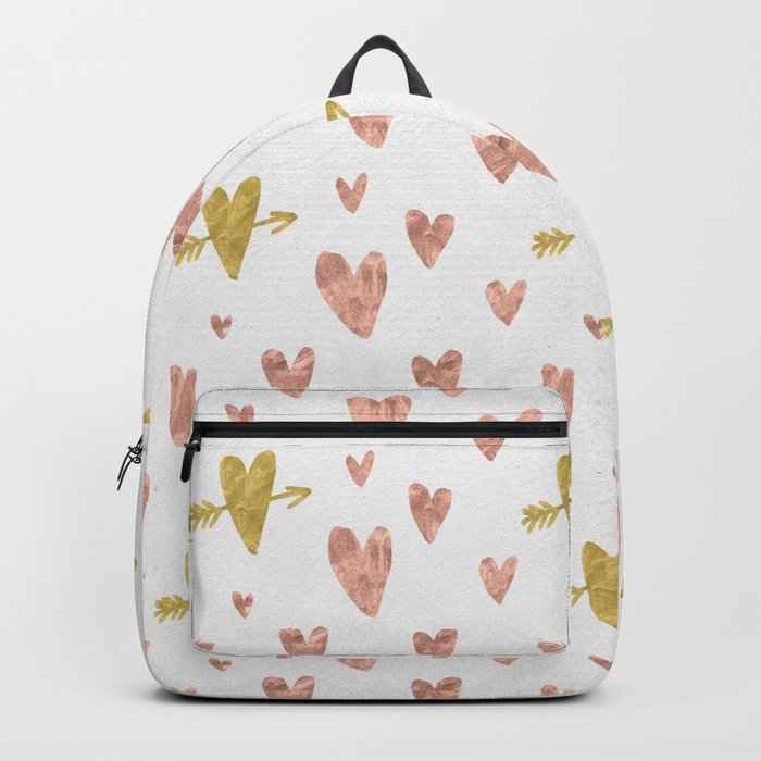 Yellow Rose Gold Hearts Pattern Backpack