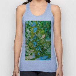 GreenTurquoise Blue Cells Stone Marble Abstract Painting Unisex Tank Top