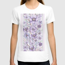 Watercolor purple lavender lilac floral stripes T-shirt